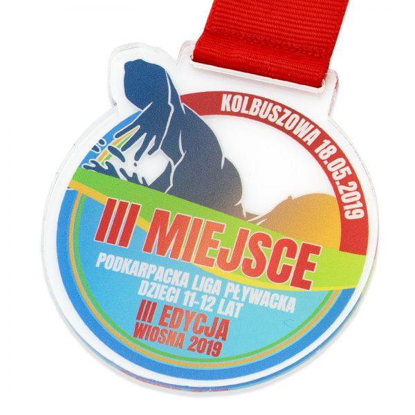Sportowy medal z pleksi na za udział w Podkarpackiej Lidze Pływackiej