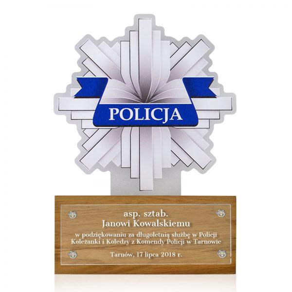 Statuetka na drewnianym postumencie na podziękowanie dla Policjanta