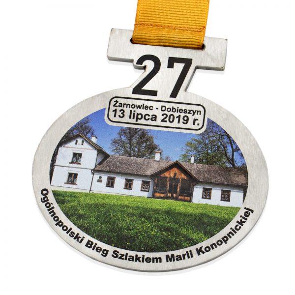 Medal metalowy nieregularny z nadrukiem na zawody biegowe