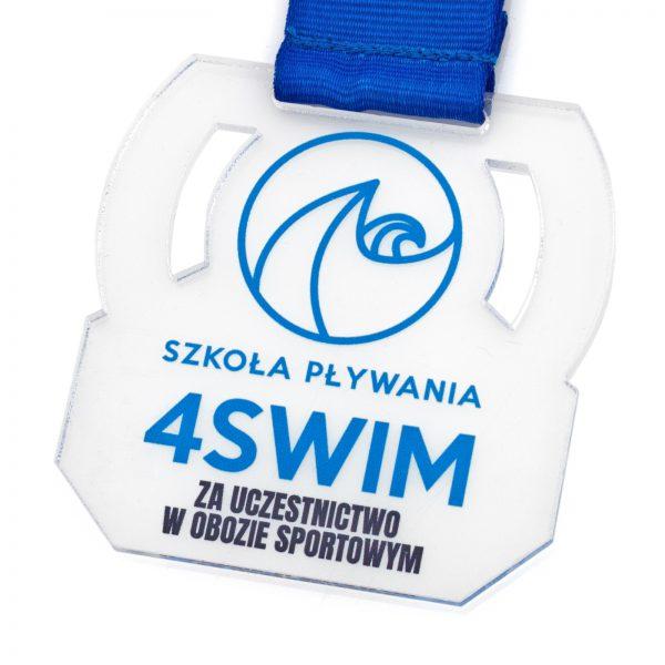 Medal ażurowy z nadrukiem dla Szkoły Pływania