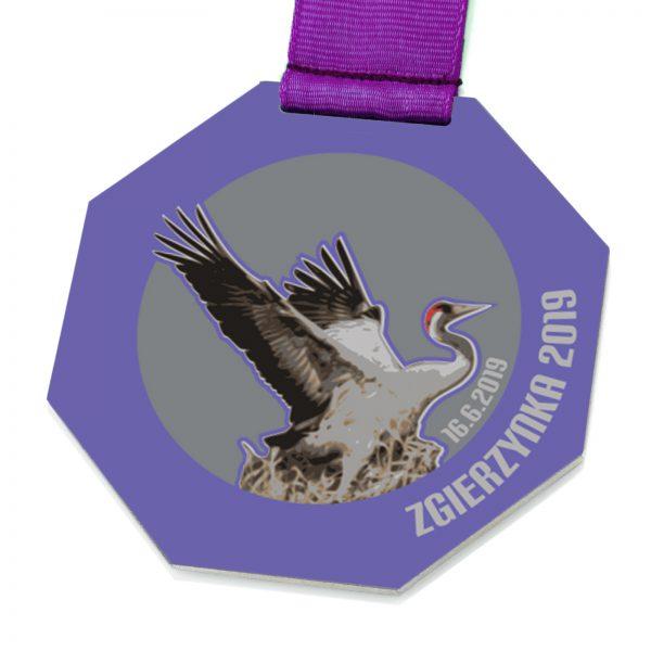 Medal metalowy ośmiokątny z nadrukiem Żuraw