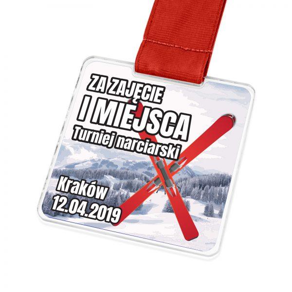 Medal z pleksi z kolorowym nadrukiem na zawody narciarskie