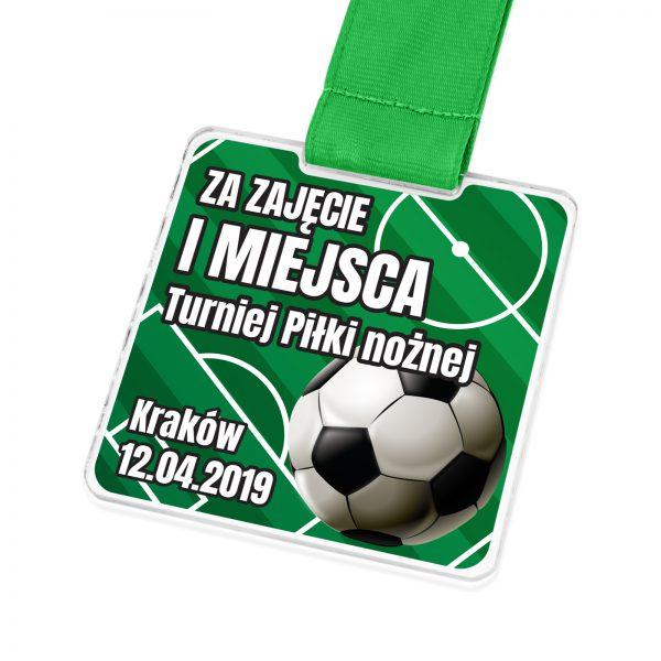 Medal z transparentnej pleksi na turniej piłki nożnej