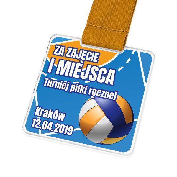 Medal sportowy na zawody piłki ręcznej z pleksi z nadrukiem