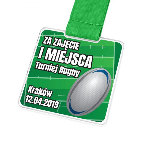 Medal nowoczesny z pleksi z nadrukiem na turniej rugby