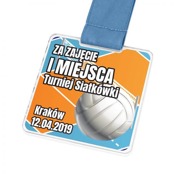 Medal z pleksi z nadrukiem na turniej siatkówki na zamówienie