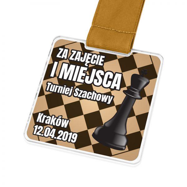 Medal szachowy z kolorowym nadrukiem dla zawodników turnieju