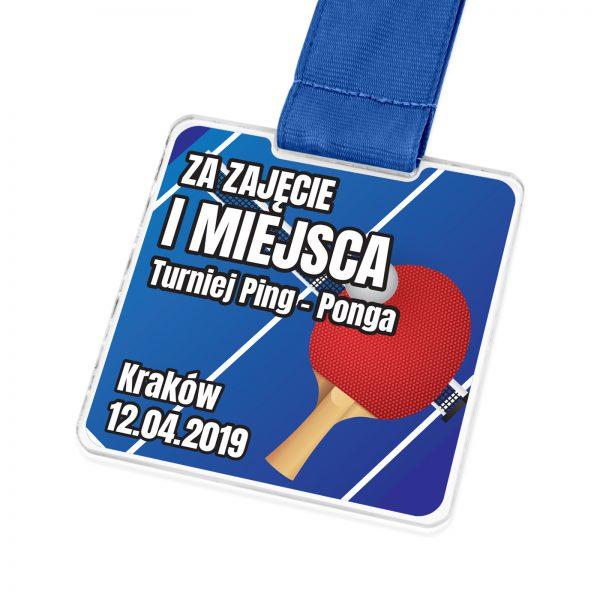 Medal z pleksi na turniej ping-ponga z kolorowym nadrukiem
