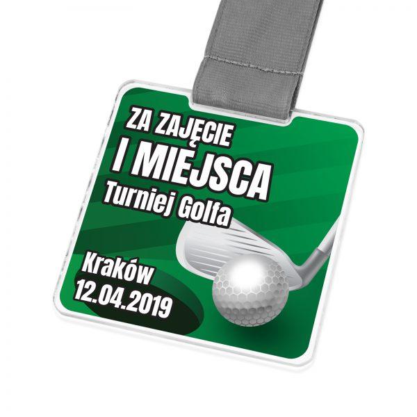 Medal z transparentnej pleksi z nadrukiem dla golfisty