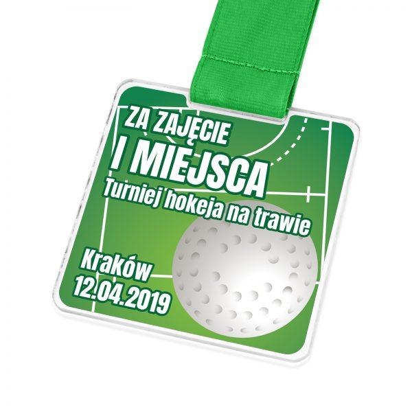 Nowoczesny medal z kolorowym drukiem na turniej hokeja na trawie