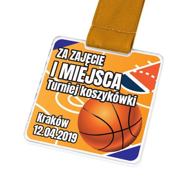 Sportowy medal z plexi na zamówienie na zawody koszykarskie