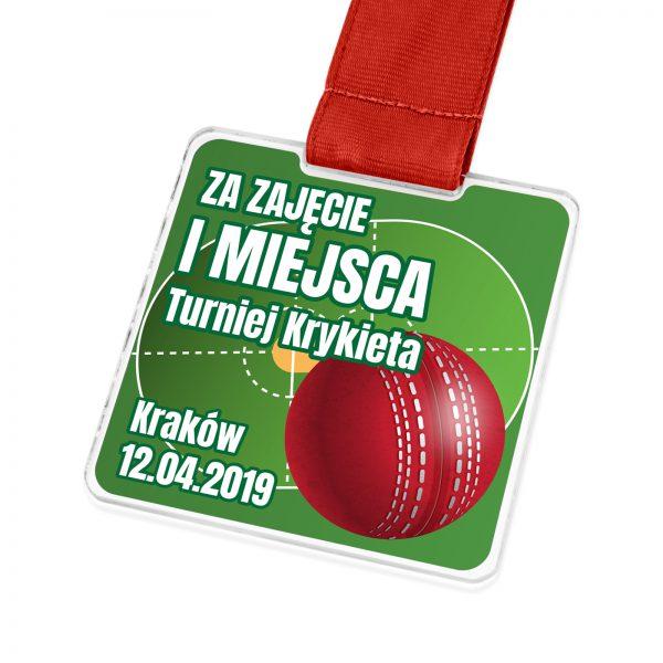 Medal dla sportowca z nadrukiem na turniej krykieta