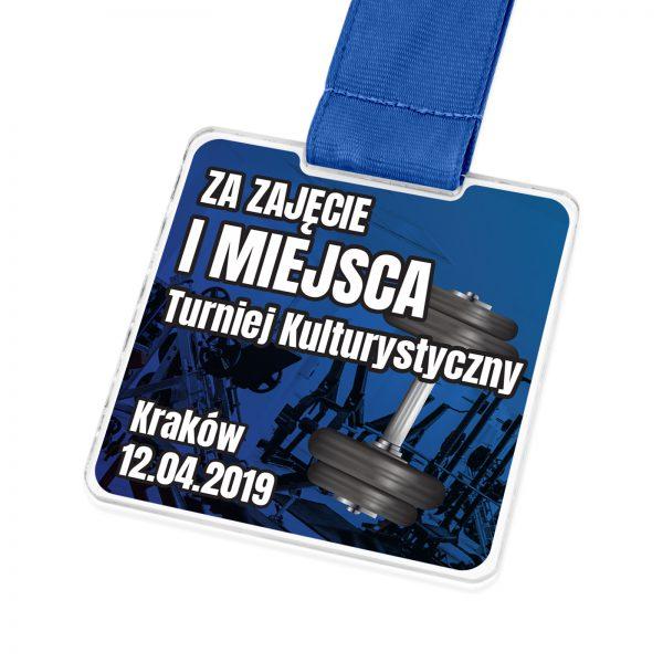 Medal z kolorowym nadrukiem na zawody kulturystyczne