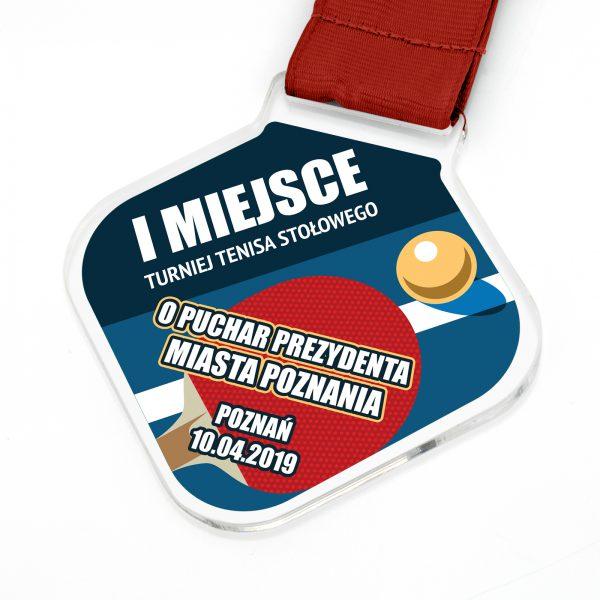 Medal na zamówienie na turniej tenisa stołowego z nadrukiem