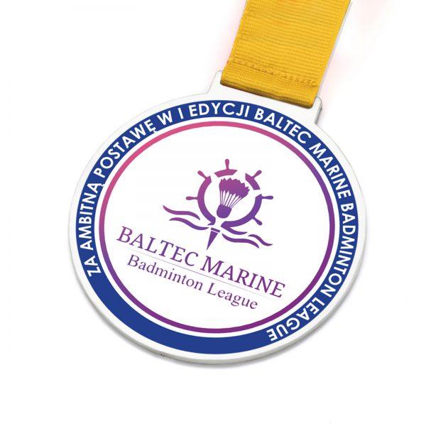 Medal metalowy okrągły z nadrukiem Badminton League