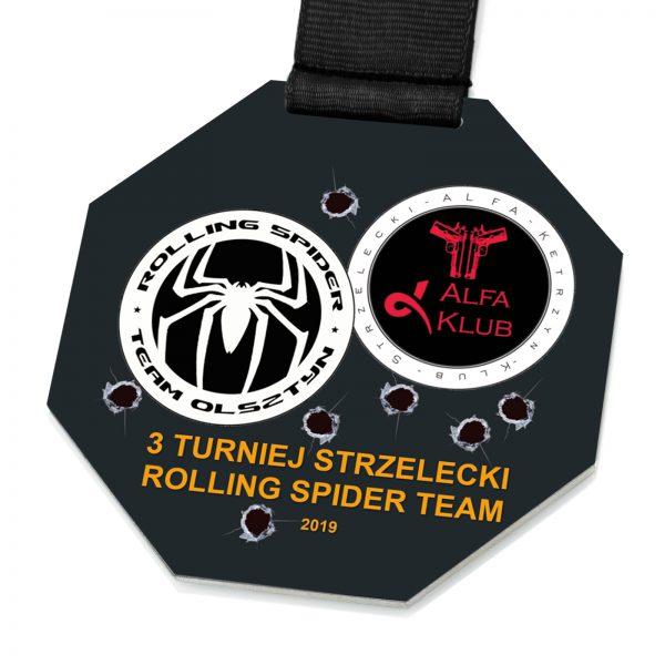 Medal na taśmie z nadrukiem ośmiokąt na Turniej Strzelecki
