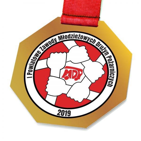 Medal pożarniczy z kolorowym nadrukiem na Zawody Młodzieżowe