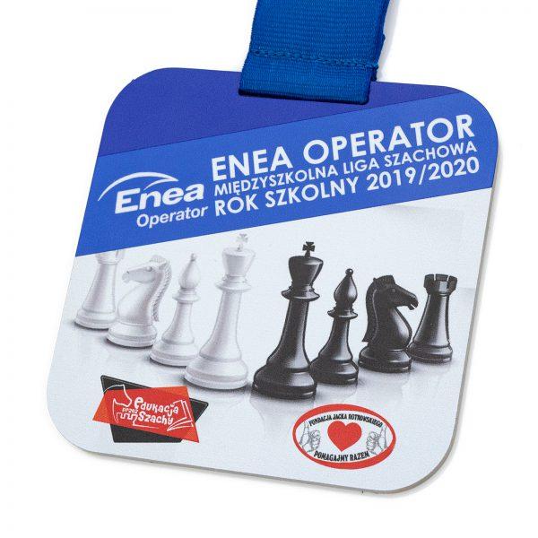 Medal kwadratowy z metalu z nadrukiem na Turniej Szachowy
