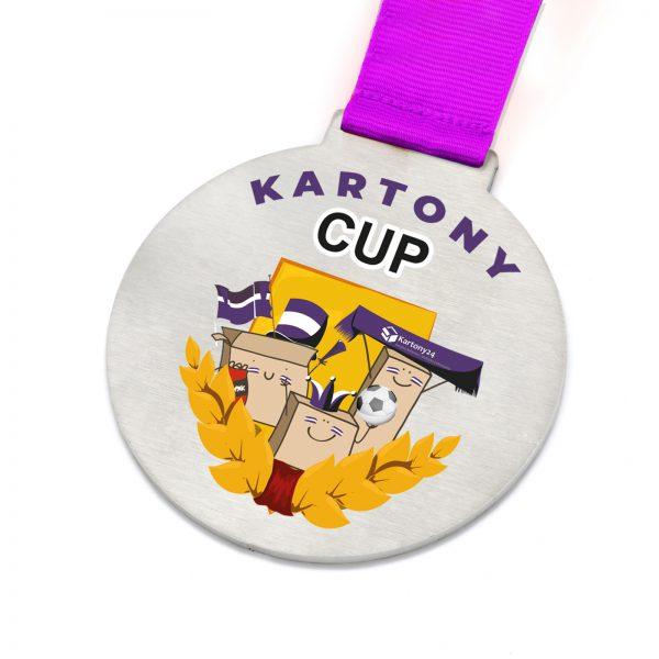 Metalowy medal z drukiem UV na zawody w piłce nożnej Kartony Cup