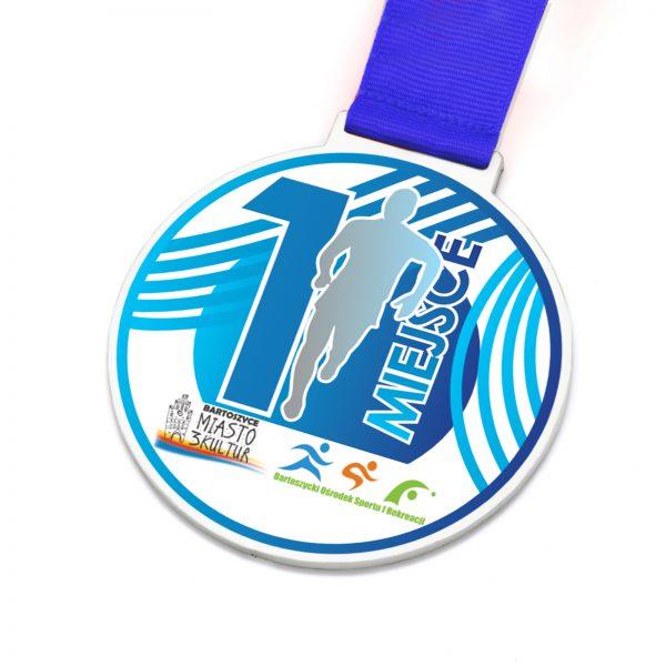 Medal lekkoatletyczny z metalu z kolorowym nadrukiem