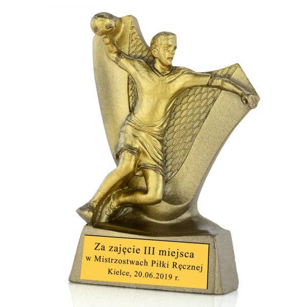 Statuetka z odlewu z grawerem na zawody piłki ręcznej