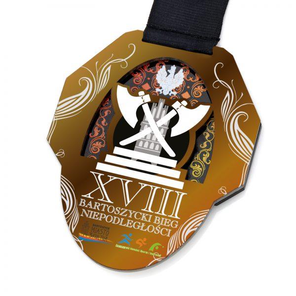 Medal wycinany z wklejką na Bartoszycki Bieg Niepodległościowy