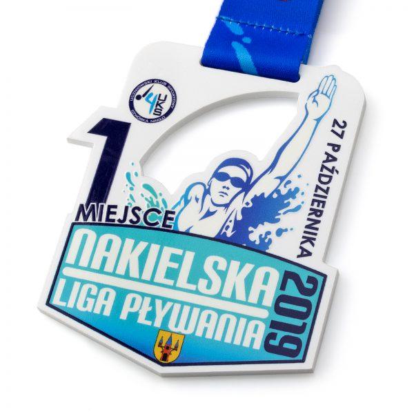 Medal pływacki z pleksi na zamówienie Nakielska Liga Pływania