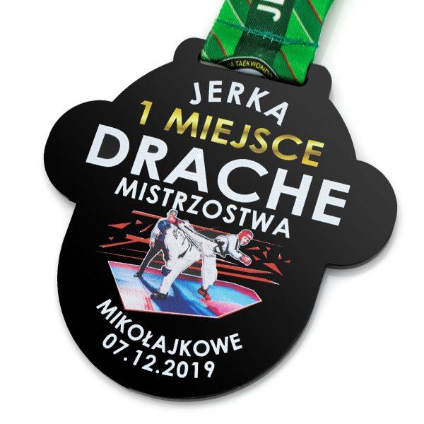 Medal mikołajkowy dwustronny na zawody Taekwon-do Drache