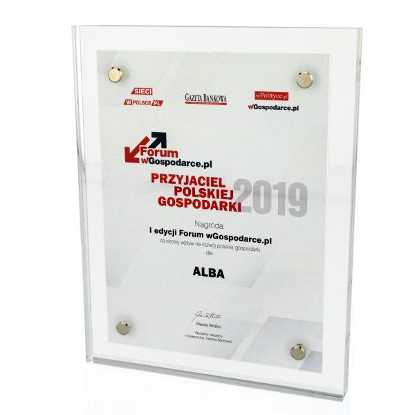 Dyplom z pleksi na zamówienie – nagroda za rozwój polskiej gospodarki