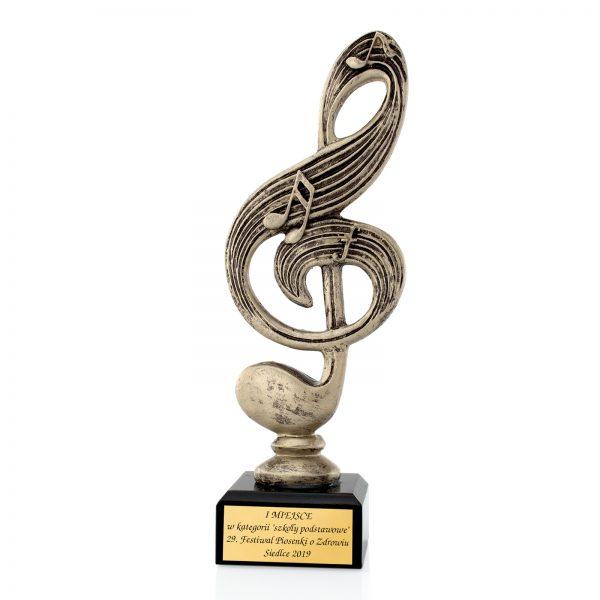 Statuetka 3D odlewana klucz wiolinowy na Festiwal Piosenki