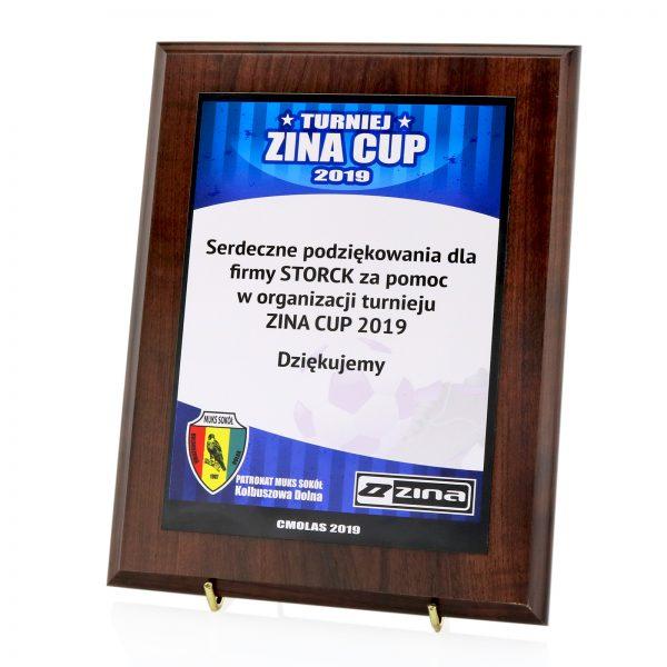Dyplom sportowy w drewnie na podziękowanie Turniej Zina Cup 2019