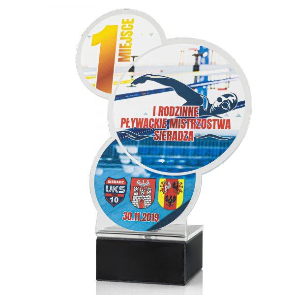 Statuetka pływacka z nadrukiem na Mistrzostwa UKS Sieradz