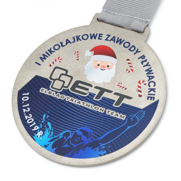 Medal metalowy na mikołajkowe zawody pływackie