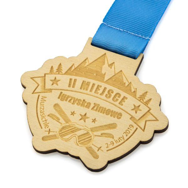 Medal ze sklejki z grawerem na zimowe zawody narciarskie