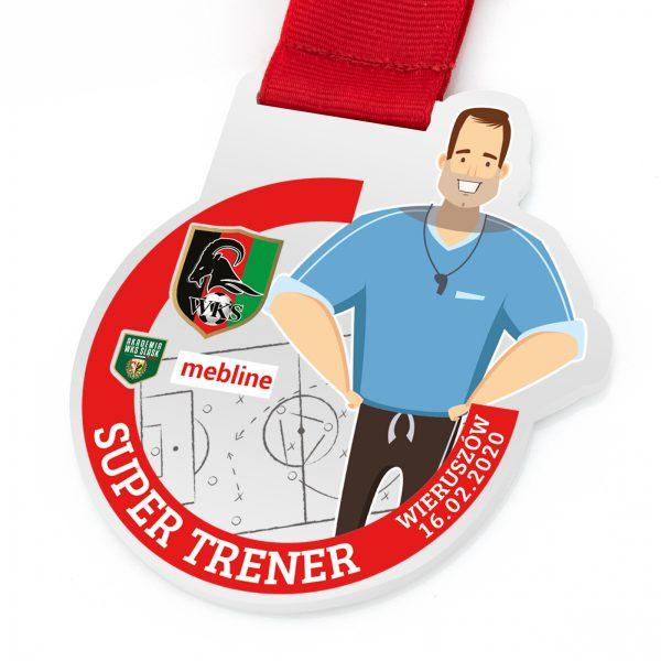 Medal sportowy z kolorowym nadrukiem Super Trener