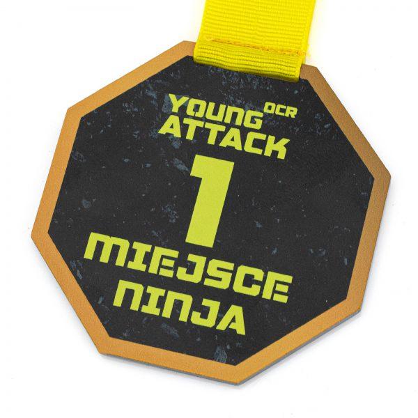 Medal ze stali nierdzewnej z kolorowym nadrukiem Ninja Finisher