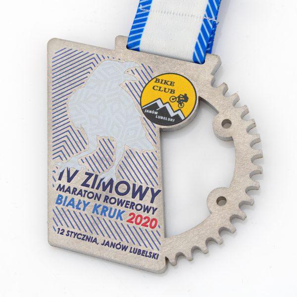 Medal ażurowy na zawody rowerowe Biały Kruk 2020